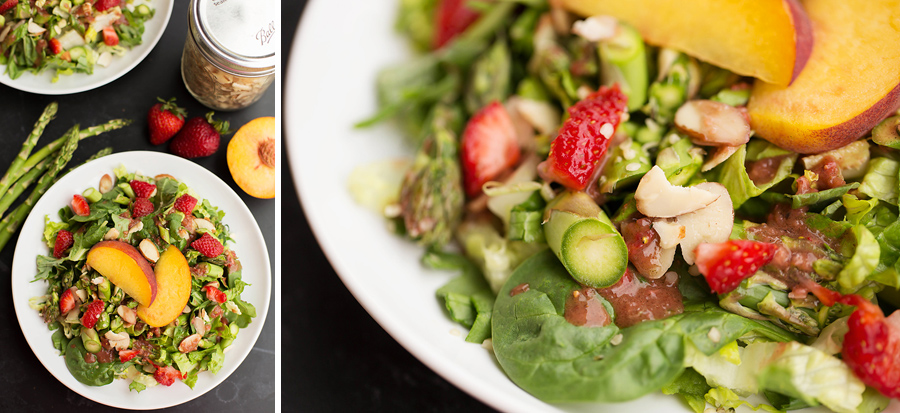 strawberry vinaigrette and peach salad